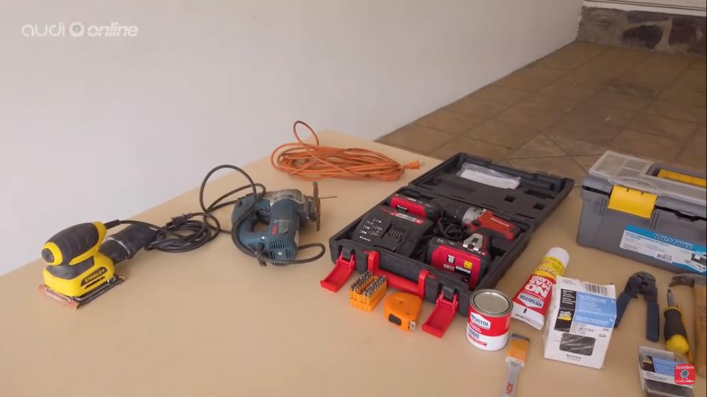 materiales completos a usar para armar el cajón sellado para el woofer cuadrado Kicker 45L7R104